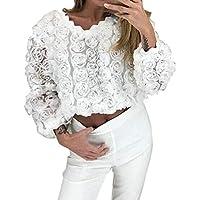 Xinxinyu Estereoscópico Rosa Camiseta Tops Mujer, Atractivo Holgado Hueco Blusas Cuello Redondo Abrigos, Casual Moda Blanco Pullover Camisetas (L, Blanco)