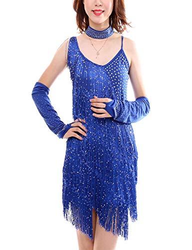 KRUIHAN Latein Tanzen Kleids Quaste Pailletten - Frauen Bühnen Performance Leibchen Kostüm Tanzbekleidung Kleidung Handschuh Halsreif Tango Rumba - Lyrische Tanz Kostüm Blau