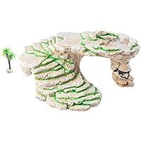 Emourspuk - Plataforma de balancín para tortuga de Shale Rock Den, borde y cueva Gecko con planta de plástico, tamaño grande