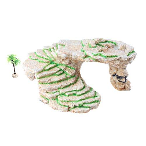 Schildkröte Basking Plattform Shale Rock Den Schritt, und Gecko Höhle Versteck mit Kunststoff Pflanze, groß