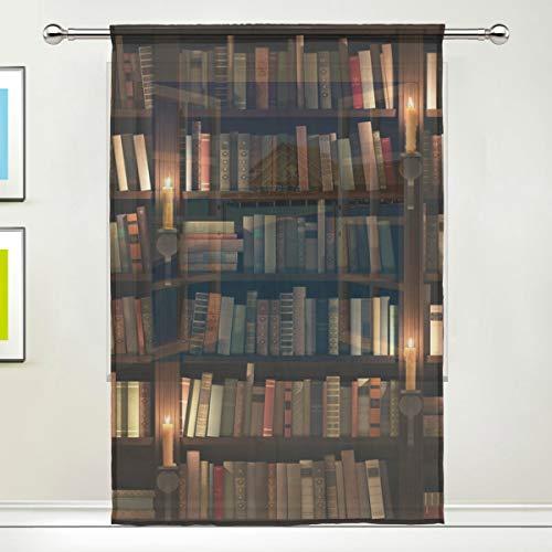 CPYang Vorhang für Bücherregal, Raum-Bibliothek, Voile, Vorhänge für Wohnzimmer, Schlafzimmer, Tür, Küche, 139,7 x 198 cm, 1 Panel, Textil, Multi, 55 x 78 inch - Bibliothek Bücherregal