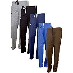IndiWeaves Women's Premium Cotton Lower with 1 Zipper Pocket and 1 Open Pocket(Pack of 5)_Grey::Blue::Brown::Blue::Brown-40