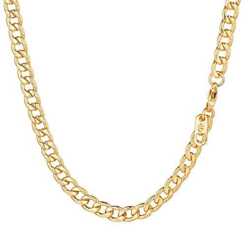 PROSTEEL Herren Rändel-Design Halskette 5mm breit Panzerkette 76cm/30 18k vergoldet Edelstahl massiv Gliederkette für Männer Jungen Hip Hop Schmuck Geschenk