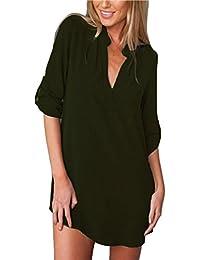 ZANZEA Femme Sexy Col V Chemise Tunique Lâce Mini Robe Mousseline Irrégulier T-Shirt Tops Haut Blouse