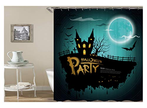 Knbob Shower Curtain Anime Halloween Party Castle Und Fledermaus Bunt Duschvorhang Inkl. Ringen Halloween C 165X200Cm