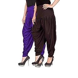 Navyataa Womens Lycra Dhoti Pants For Women Patiyala Dhoti Lycra Salwar Free Size (Pack Of 2) Voilet & Brown