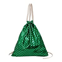 Lazzboy Bag Women Colourful Sparkly Fish-Scale Pattern Shoulders Bags Drawstring Backpack Daypack