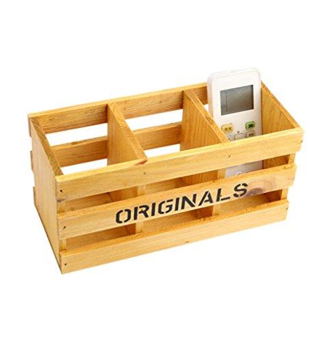 gespout Holz Aufbewahrung Desktop Truhen Multifunktions Rechteck Boxen Boxen für Succulents Stationery Desktop Finishing Bier (braun), holz, khaki, 24*10.2*11.5CM (Zweck Truhe Box)