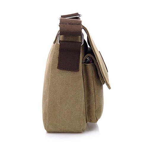 YAAGLE Retrotasche Segeltuch Canvas Querschnitt Multitaschen Business Taschen Freizeit Herren Taschen Schultertasche Umhängetasche-kaffee kaffee