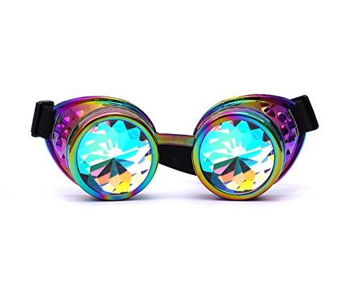 AFUT Radioaktiv Brille Steampunk Bling Kristalllinse Halloween Bunte Rahmen