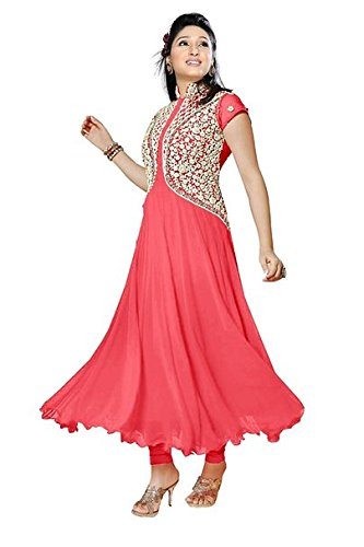Bikaw Embroidered Pink Georgette Fashion Anarkali Style Party Wear Semi-Stitched Suit - RS_HFC_pankhudi pink  available at amazon for Rs.379