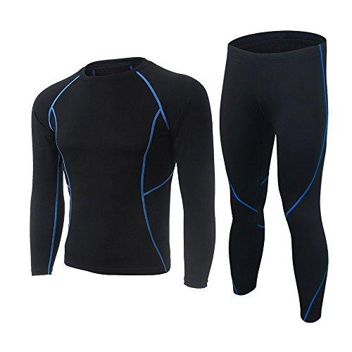 SKYSPER Homme Ensemble de sous-Vêtement Thermique Maillot de Corps Manches Longues + Pantalon Vêtements de Fitness pour Hiver Ski Montagne Cyclisme Montagne Bleu M