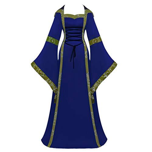 Kostüm Marine Armee - Damen Vintage Kostüm Hochzeit Mittelalter Bodenlangen Kleider Celtic Renaissance Gothic Cosplay Kleid A-Linie Swing Kleider Cocktailkleid Lace Up Mit Kapuze Kleider (Marine, EU:42 / Size:XXL)