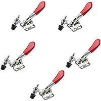 haljia 5pcs rojo antideslizante herramienta de mano Toggle Clamp 201A 27Kg barra de sujeción de palanca Horizontal de liberación rápida de agarre