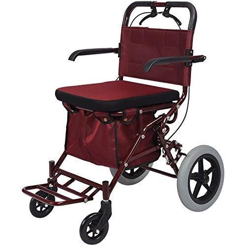 Verstellbare Ergonomische Mobile (Klapprollen-Walker-Stahlrohrbegrenzung Mobile Unterstützte Ältere Einkaufspedale Walker-Einkaufswagen-Planen-Laufkatze)