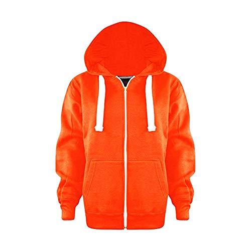 Girls Boys Plain Coloured Fleece Zip Up Hoodie Kids Junior Warm Hooded Jacket Sweatshirt Hoody Tops UK Age 3-13 Years