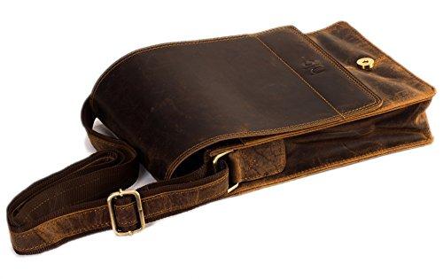 * classydesigns * 25,4cm Leder Messenger Umhängetasche Laptop Tasche für Herren und Damen Leder Umhängetasche Laptop Messenger Unisex iPad mini Notebook Tasche (Kalb-leder-satchel-tasche)