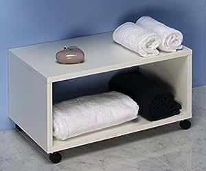 Mobile bagno panca arredo bagno con rotelle da cm 55 for Arredo bagno amazon