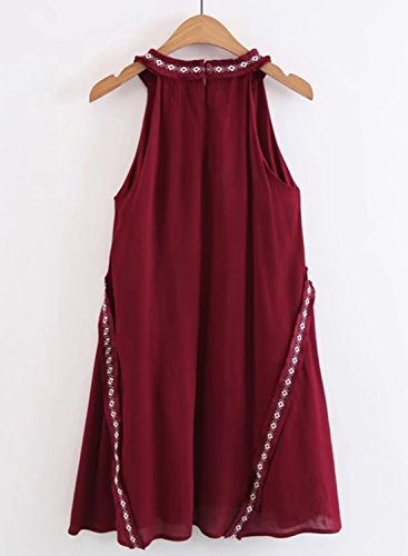 ACHICGIRL Women's Casual off Shoulder Sleeveless Loose Fit Dress Burgundy