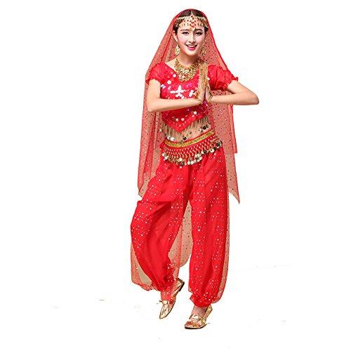 Tanz Outfits Tanzkleidung Bauchtanz Kostüm Set Stammes- Indischer Tanz Bra Top & Paillette Bauchtanz Hose Münzen (Toga Kostüme Frauen)