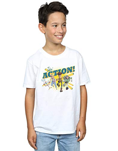 Disney Jungen Toy Story 4 Takin' Action T-Shirt Weiß 7-8 Years (Woody Shirt Toy Story Herren)