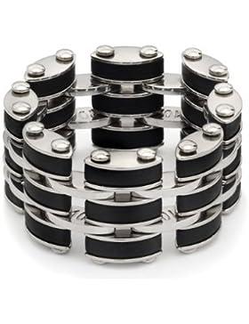 Stahl-Ring für Herren, Schwarz und Silber