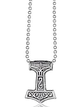 MESE London Thors Hammer Halskette Wikinger Silber Anhänger - Elegante Geschenkbox
