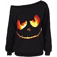 Keepwin Damen Moden Bluse Frauen Halloween Kürbis Teufel Pumpkin Devil Gedruckt Langarmshirt Casual Oblique Hals Schulterfrei Oberteil Tops Hemd