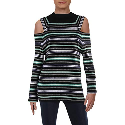 Calvin Klein Women's Large Striped Mock Neck Sweater - Mock Neck Sweater