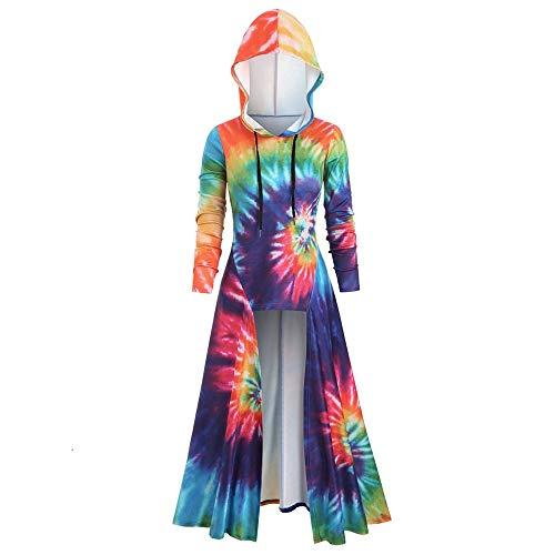 Aiserkly Damen Plus Size Langarm Kapuze Spiral Tie Print Hohe Kapuze Umhang Bluse Tops Halloween Cosplay Karneval Kostüme Lange Robe Hoodie Pullover Mantel Gelb (Robe Sexy Kapuzen Kostüm)
