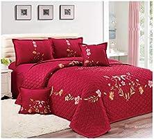Floral Compressed 6Pcs Comforter Set, King Size, Px-008, Red,