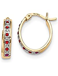 ICE CARATS 925 Sterling Silver Gold Plated Diamond Red Ruby Oval Hoop Earrings Ear Hoops Set Fine Jewelry Gift Set For Women Heart