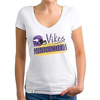 Shirtdepartment - Damen T-Shirt V-Ausschnitt - Vikes - Minnesota Weiss-lila M