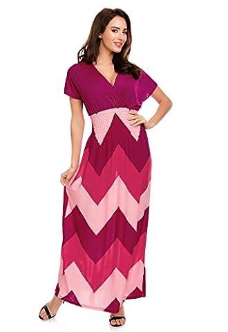 Mia Suri Short Sleeve Zig Zag Striped Plus Size Maxi Dress For Women Pink UK 12/14