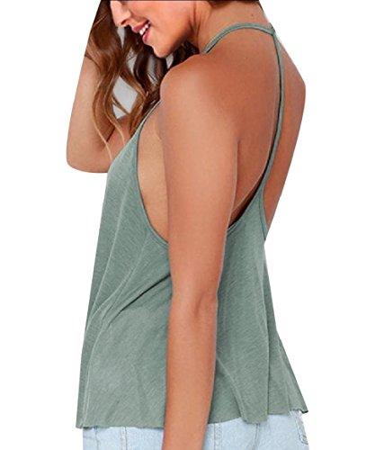 CuteRose Womens High Neck Cozy Basic Plus Size Backless Sexy Tank Tee Top M Light Green (Tank Basic Cotton Top Ribbed)