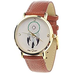 Dreamcatcher Japanese Movement Stainless Steel Back Brown Faux Leather Strap Watch
