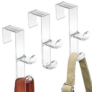 mdesign 3er set kleiderhaken zum ber die t r h ngen kunststoff t rhaken f r flur. Black Bedroom Furniture Sets. Home Design Ideas