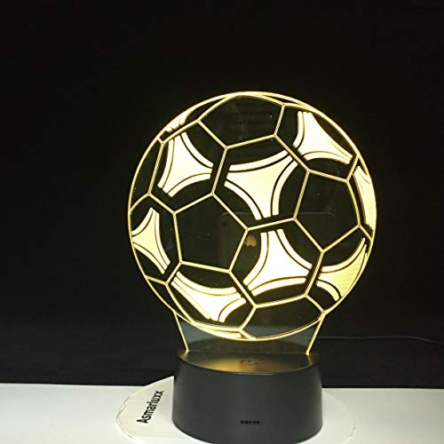 Black Friday Trading Football Soccer Luce 3D Effetto luce visiva Night Touch Touch Switch 7 Lampada da tavolo a LED a luce notturna a variazione di colo