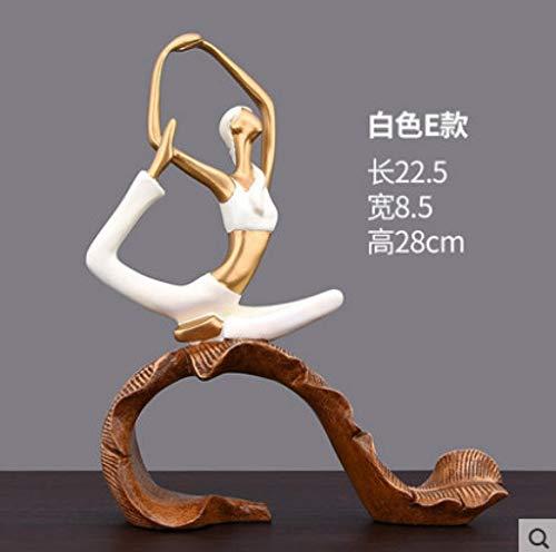 MiNnn TV-Kabinett-Veranda-Weinkabinendekorationen des Yoga-Mädchens kleine Verzierungengeschäftschreibtisch-Ausstellungsstandeinrichtungsgegenstände, weiß E (Statue Mädchen Garten Kleines)