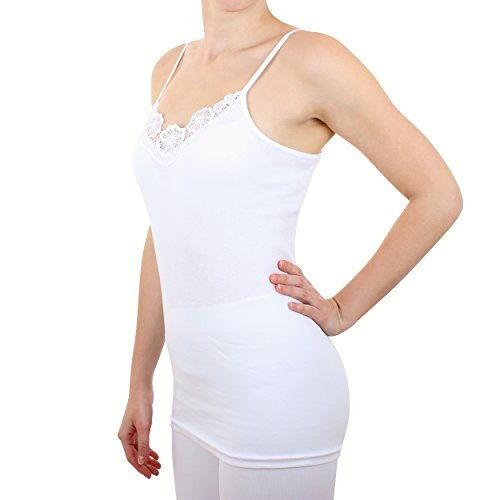 2er Pack Damen Hemd mit Spitze Feinripp aus 100% Baumwolle (Unterhemd, Oberteil) Nr. 328/0210 ( Weiß / XXXL - (56/58) ) - 2