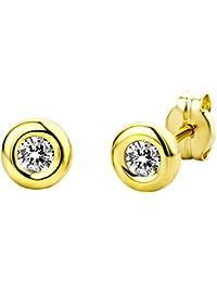 Miore Damen Ohrstecker 9 Karat / Glänzende Ohrringe aus 375 Gelbgold mit 2 farblosen Zirkonia-Steinen / Ohrschmuck klein Ø 5,5 mm