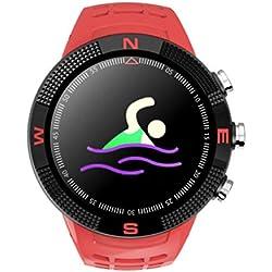 Funnyrunstore F18 Smartwatch Sports Cadran Rond IP68 Appel à Test d'eau Podomètre du Sommeil Surveillance GPS Montre Intelligente