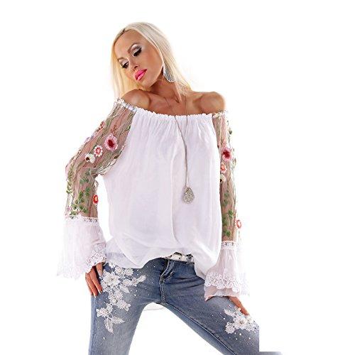 Moda Italy Bluse Tunika Floral mit Seide Langarm Weiss (Seide Weiße Tunika)