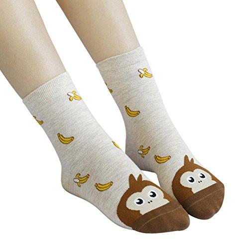 Damen Socken Transer® Baumwolle Cartoon Hund+Knochen, Katze+Fisch, Affe+Bananen Wärmer Rutsch Boden Socken Eine Größe (A)