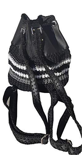 Schwarz-weiß exklusive designer Rucksack Gechäkelte Eimer Tasch Schwarz PU Leder Rucksack mit weiß-grauen Streifen Frauen Rucksack mit Ösen und Kordelzug