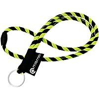 mia mai Tubular Lanyard (amarillo/negro, 45cm) Cordón de llaves para el cuello con cierre de seguridad, llavero, colgante para llaves