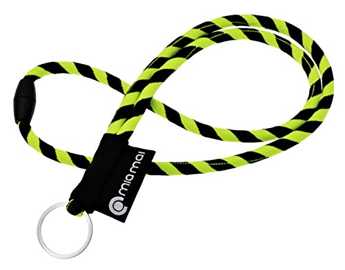 mia Mai Tubular Lanyard (Gelb/Schwarz, 45 cm), Schlüsselband mit Sicherheitsverschluss, Schlüsselring Schlüsselanhänger
