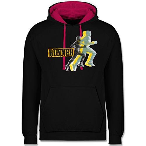 Laufsport - Runner - Kontrast Hoodie Schwarz/Fuchsia
