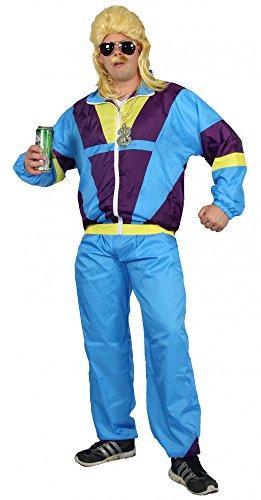 80er Jahre Trainingsanzug Kostüm für Erwachsene | türkis lila gelb | Größe: S – XXXL - 3