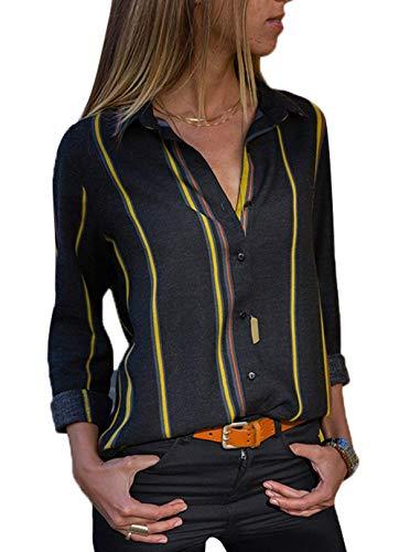 Minetom Donna Camicetta Chiffon Blusa Elegante Camicia Manica Lunga Scollo V Camicetta Camicia Bavero Elegante Bluse C Giallo IT 48